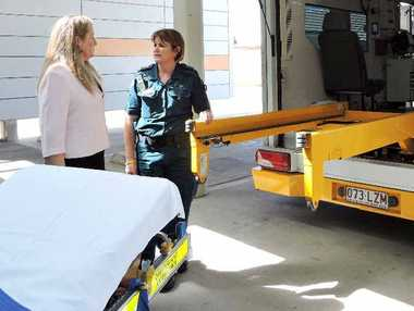 Janet Hope and Michelle Whiting check out the ambulance specifically designed for larger patients.