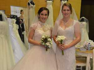 Intricate beading and detail is popular in bridal wear at Under the Veil in Sarina, modelled by Sabrina Dunkerley and Laura Feitz. Photo Lee Constable / Daily Mercury