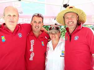 Seafood Festival- Brian Hoole, Jason Bould, Sally Nocher and Darren Everard from the Surf Lifesaving Club helping out at the festival. Photo: Robyne Cuerel / Fraser Coast Chronicle