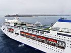LUXURY LINER: The Pacific Pearl anchors off Mooloolaba yesterday on its inaugural visit to the Sunshine Coast.