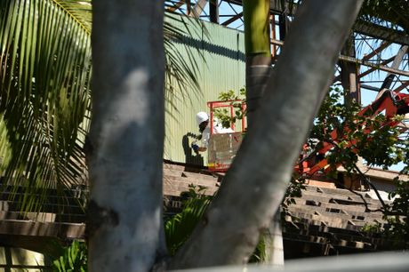 QAMS employees work on demolition of Walkers Market shed on Harbour Road, Mackay. Photo Peter Holt / Daily Mercury