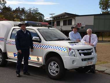 Crestmead OIC Rob Mulhern with Councillors Phil Pidgeon and Russell Lutton. Photo Contributed