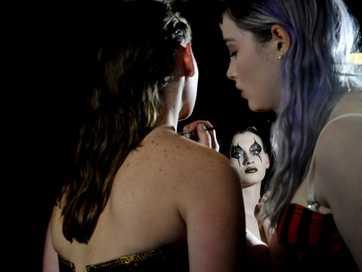 Makeup students at Wollongbar TAFE show off their skills.