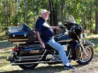 David Marr of Noosa Banks will swap his Harley Davidson for a 50cc scooter which he will ride across the Nullabor to raise funds for `Beyond Blue'. Photo Geoff Potter / Noosa News