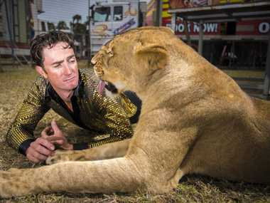 Stardust Circus lion trainer Matthew Ezekial with one of the stars of the show.