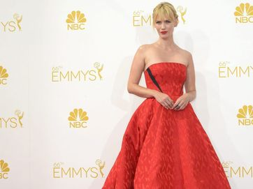 Red was the dominant colour in today's Primetime Emmy Awards fashions.