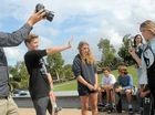 STOP: Taking part in filming at Ballina skatepark on August 26 for the Inspire Change Challenge anti-bullying television advertisement (foreground, from left) videographer Craig Parry, Luke Atkinson (playing the hero), Nadine Janissen (playing the victim) and Brittany Sanders (playing the bully).