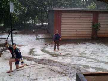 It looked like it had snowed in parts of Toowoomba after an intense hail storm.