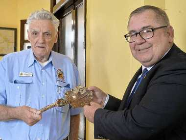 DONATING TRENCH TOOL: Phil Gilbert OAM and Barry Gracey.