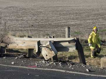 A high-impact crash on the New England Hwy left a man with serious leg injuries.