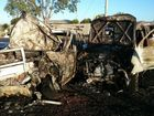 TWO men have been taken to hospital and their vehicles destroyed by fire after they collided at Lake Clarendon early this morning.