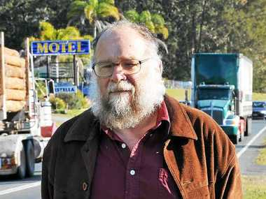 ABOVE LEFT: John May, pictured in 2011 near the speed camera at Urunga. At that time he was upset about the camera being taken away.