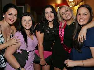 L-R Natalya Hatchman, Meg Armstrong, April Randle, Amber Anderson and Tayla McConnell at Flamingo's On Quay. Photo Liam Fahey / Morning Bulletin