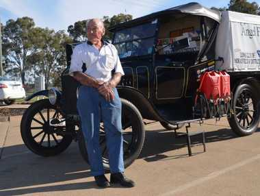 DRIVING IN STYLE: On his first stop on an Australia wide trek, Lindsay Bell hopes to raise funds for a charity that helps remote people get to medical care.
