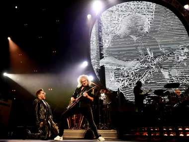 British band Queen with Adam Lambert play performing in Sydney. (AAP Image/Tracey Nearmy)