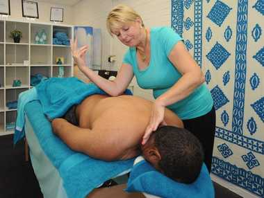 Pam Corowa massaging a client at Relax in Torquay.