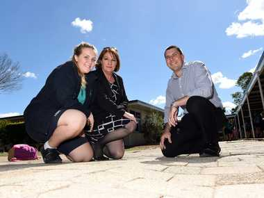 (From left) Morayfield State High School school captain Elle Malone, principal Janelle Amos and Member for Morayfield Darren Grimwade examine some of the school's maintenance needs. Uneven pavers are a problem at the school. Photo Jorge Branco / Caboolture News