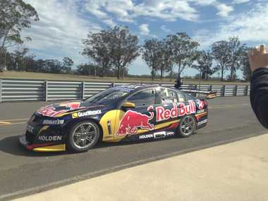Jamie Whincup heads out of the pits at Morgan Park.