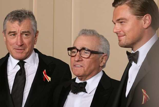 Robert De Niro, Martin Scorsese and DiCaprio, at an awards show in 2010