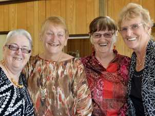 Annette Spilsbury, Lois Leembruggen, Joan McCann and Ngaire McKee at the reunion of former Lauriston Aged Care nurses. Photo Inga Williams / The Queensland Times