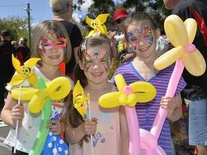Trinity Doyle, 7, Monique Doyle, 6 and Alyssa Doyle, 7, at the Rosewood Festival. Photo Inga Williams / The Queensland Times