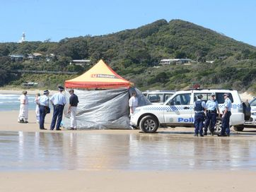 Photos from the aftermath of the shark attack at Clarkes, Beach, Byron Bay.