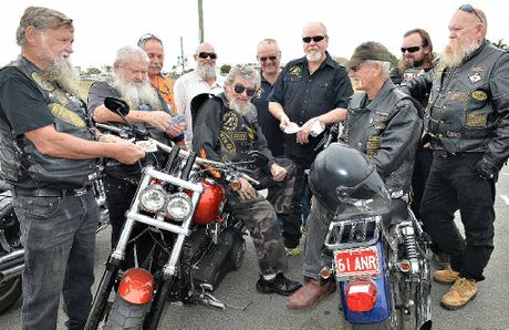 KNOW WHEN TO HOLD THEM: Preparing for Saturday's poker run from left, Lloyd Harmsworth (Pup), Ken Loadsman (Boots), David Jones (DJ), Jess Ryan (Wolf), Len Pomeroy (Bagman), Wally Jewell, Les Woods (Woodsy), Ray Ryan (Razor), Bill Brennan (Ferret) and Craig Hampson (Iron Head) outside the Old Railway Hotel where the run leaves from.