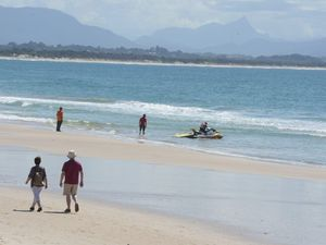 The scene of a shark attack on Clarkes Beach, Byron Bay where a man in his fifties died 09/09/2014.