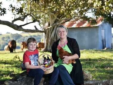 FARM FRESH IS BEST: Julie Shelton and her son Oliver Forsman, 9, are passionate about healthy, nutrient-rich foods.