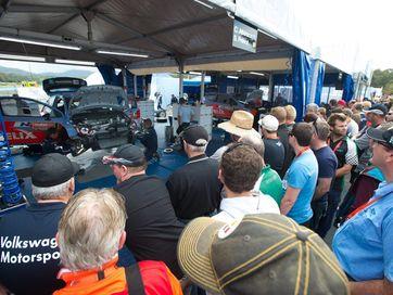 WRC action at the Hi Tec Oils service park at C.ex Coffs Stadium.