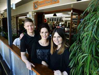 ALL FOR GREG: Craig Burchell, Liz Reynolds, Kirsten Reynolds are back on deck at the Queens Park Cafe after the passing of husband and father Greg Reynolds on August 16.