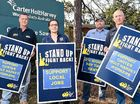 A CROWD of workers gathered outside Carter Holt Harvey last Friday to protest against what they said were unfair negotiations with the company.
