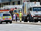 THE man had been taken to Mackay Base Hospital after his motorised wheelchair and a truck collided at the intersection of Gordon and Macalister Sts  yesterday.