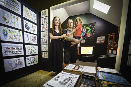 Agnes Water Tattoo Studio owners Sharon and Ian Walker with daughter Gage, 4.