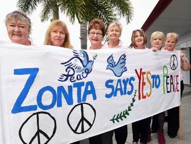 After saying no to domestic violence last year, Zonta members Deborah Gray, Linda Howell, Joan Hollis, Jane Barnes, Barb Lewys-Davies, Joan Beatty and Amelia McLarnon are saying yes to peace this year.