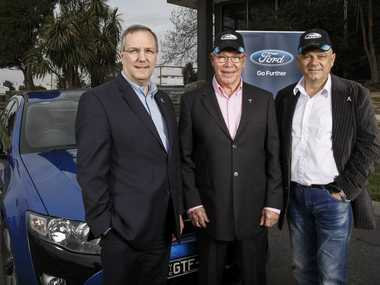 Ford Australia President and CEO Bob Graziano, V8 racing legend Allan Moffat and FPV GT F 001 owner Ian Terriaca who paid $157,600 for FPV GT-F 001, and then donated another $10,000 for cancer research.