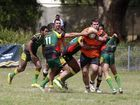 Tablum trying to take out Chris Binge during the Tabulam v Cubawee, rugby league aboriginal knockout carnival at Crozier Oval, Lismore. Photo: Nolan Verheij-Full / Northern Star