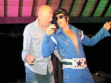 ROCKIN' ON: Doug Jamieson from Mackay sings with Elvis on Saturday night at the Vegas Legend's Show held at the Whitsunday Sailing Club.