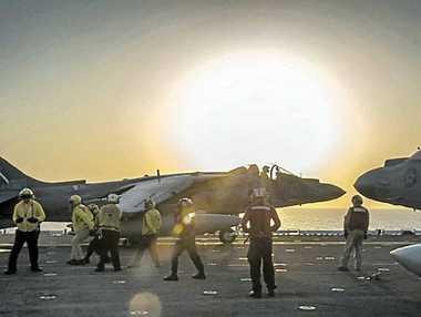 AIR STRIKE: Jets aboard the USS Makin Island.