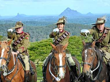 PROUD MOMENT: Members of the 5th Light Horse Regiment Maleny Troop, including (from left) Joe Colreavy, Suzy Werry and Niall Coburn will join the Australian Light Horse Association's 100-horse commemorative ride in Brisbane this month.