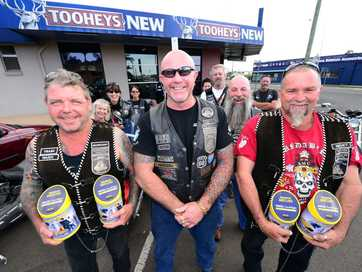 A selection of photos taken of American Motorcycle Club Australia Bundaberg Chapter president Lenny Meredith and fellow AMC members who helped raise money to give to CareFlight Group Queensland.