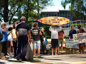 Protest at the Nambour Council Chambers to prevent a 'secret' council town planning meeting regarding the high rise Sekisui development at Yaroomba.