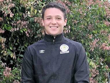REF ON THE RUN: Oliver James has been busy refereeing games at the National Youth Championships this week.