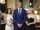 The Bachelor Blake Garvey with the final two bachelorettes Lisa Hyde and Sam Frost.