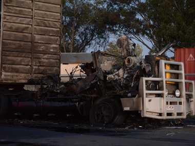 DESTROYED: The aftermath of a truck fire on Volker St.