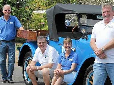 MAN UP: Founders Brian and Jill Costello with Brisbane-based Queensland Freemason Malcolm Campbell and Childers-based Freemason Allan Baldwin outside the Isis Masonic Lodge for the prostate cancer awareness talk.