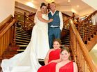 Ursula Kazmaier and Peter Hansen wed on September 27 in Gladstone. They are pictured with bridesmaids Marnie Hunter and Ashley Hansen.