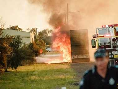 Fire rips through a cattle truck parked in Dalby. Lester Baird captured the stunning image.