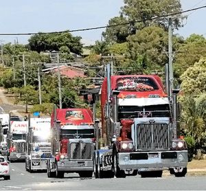 The Brisbane Convoy for Kids leaves Larapinta bound for Redcliffe.