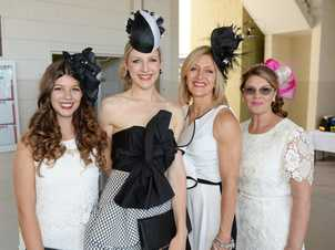 L-R Seraina Kistler, Madison Day, Julie Day and Pam O'Brien at the 2014 Caufield Cup race day at Callaghan Park on Saturday 19 Oct 14. Photo: Chris Ison / The Morning Bulletin